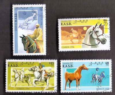 SAHARA (10/1) 1994 Horses Domestic Animals Used 4 diff. Stamps! Gift Children !