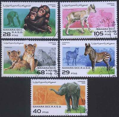 SAHARA (28/1) 1996 Elephant Tiger Animals Used 5 diff. Stamps! Gift Children!