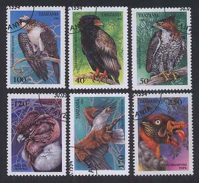 TANZANIA (12/1) 1994 Birds of Prey Used 6 different Stamps ! Gift Children !