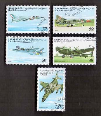 SAHARA (23/1) 1996 Aircrafts Aerolanes Used 5 diff. Stamps ! Gift Children !