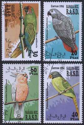SAHARA (12/1) 1994 Parrots Birds Used 4 diff. Stamps ! Gift Your Children !