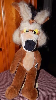 "Wile E Coyote Plush Mighty Star Warner Bros Stuffed 20"" Vintage 1980 Toy Wiley"