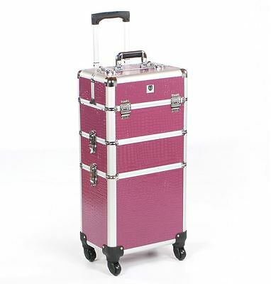 Cosmetic makeup nail hairdressing beauty vanity hair trolley case box storage pu