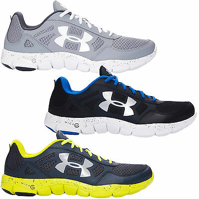 Under Armour UA Mens Micro G Engage 2 Running Gym Shoes Trainers - Black / Grey