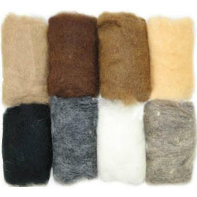 Feltworks 100% Wool Roving Value 8 Pack ~ EARTH TONE  2.8  Oz. NEW!