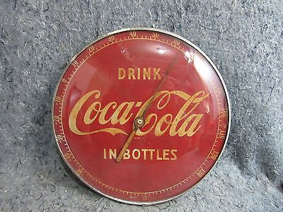 """Vintage 1950's Drink Coca Cola 12"""" Metal & Glass Weathered Thermometer Sign"""