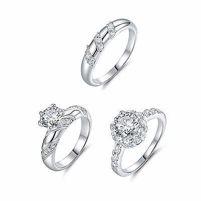 Channel-Set square white topaz wedding Band ring Sz5-9 in 18k white gold filled