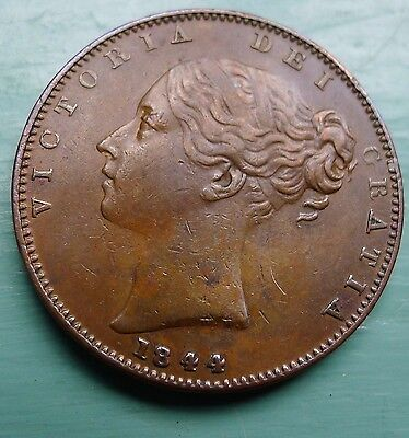 Farthing Victoria Young Head 1844 gVF RARE Key Date