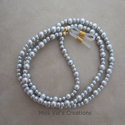 Handcrafted silver pearl beaded reading eyeglass chain holder 29.5 inches gold