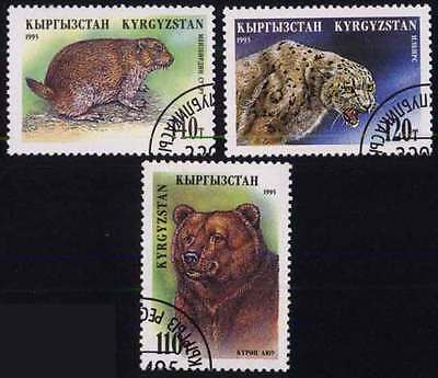 KYRGYZSTAN (03/1) 1995 Animals Bear Tiger Used 3 diff. Stamps ! Gift Children!
