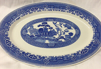 "Caribe China Blue Willow Oval Serving Platter 13"" Oriental Scene Restaurnt"