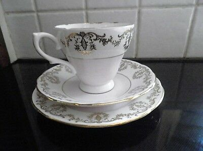 ROYAL SUTHERLAND TRIO white pink and gold cup saucer and teaplate Staffordshire