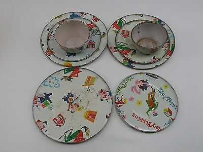Vintage 1965 Metal Dishes Plate Tea Cups Mary Poppins Three Little Pigs 3 Disney