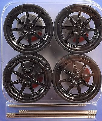 Low Profile Black 4 Wheel Set 1:18 Brake Discs Lopro 2002 8 Solid Spoke