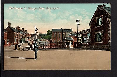 Oakengates - Station and St. George's Hall - colour printed postcard