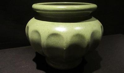 Haeger Pottery USA Mid-Century Vintage Ribbed Green with Brown Flecked Planter