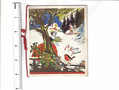 Vintage Christmas Card.Lady with holly & robin in landscape.c1930/40's.