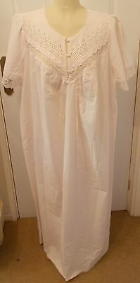 St. Michael ~ Short Sleeved Full Length Vintage Palest Pink Nightie ~ Size 20/22
