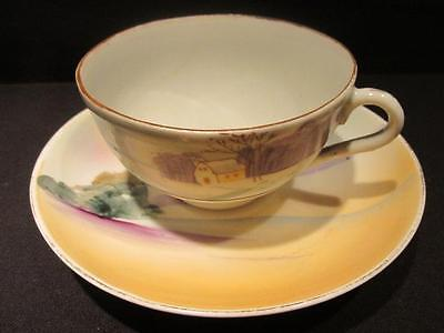 Hand Painted Nippon Vintage Tea Cup & Saucer Winter Farm & Sunset
