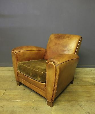 Stunning Leather Club Chair,French,Vintage