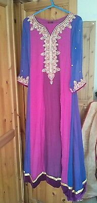 Designer Salwar Kameez Pink Gold Pakistani Party Wedding Formal Bridal Dress