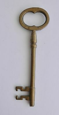 "Early Hand Forged Large Brass Door Key~~5 3/8"" Long~~From Newport, RI"