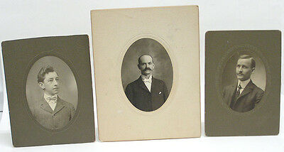 Lot of 3 Vintage Mounted Photographs: Oval portrait of Men, 2 with mustache