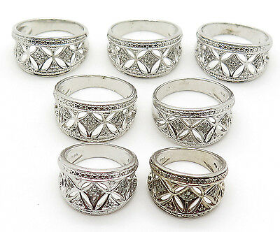 925 Sterling Silver Real Diamond Wide Openwork Lot of 7 Rings Sizes 10 6
