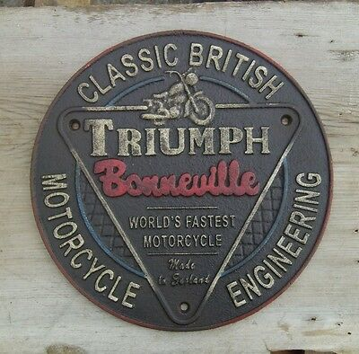 Triumph Motorcycle Bonneville Sign Cast Iron Sign Classic British Engineering