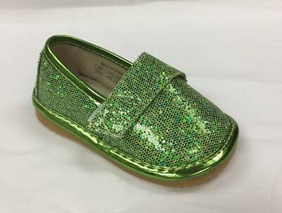 Discontinued Girl's Leather Green Toddler Sparkle Flat Squeaky Shoes Sizes 1-7
