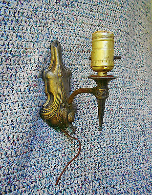 Vintage Primitive Art Deco Metal Cast Iron Wall Arm Sconce Light Fixture Lamp