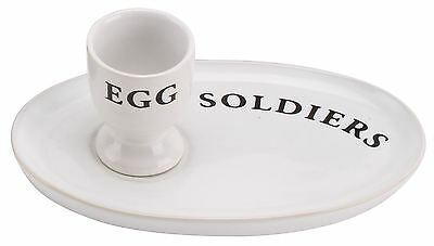 Country Kitchen Ceramic Egg And Soldiers Plate And Egg Cup Set ~ White