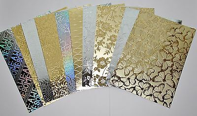 10 A5 Sheets Kanban Assorted Gold & Silver Foiled Embossed Mirri Craft Card /E
