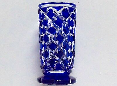 fine sapphire blue table cut to clear crystal glass spill / hat pin posy vase