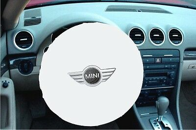 WHITE 100% Polyester MINI COOPER - MADE IN USA Stretchable Steering Wheel Cover
