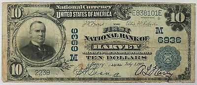 1902 $10 The First National Bank Of Harvey (Iowa) Charter 6936