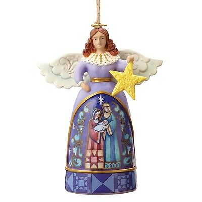 Jim Shore - Heartwood Creek - Mini Angel With Star Hanging Ornament