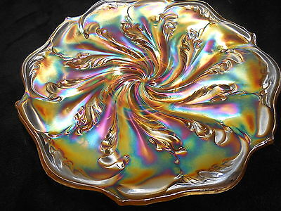 "BEAUTIFUL Imperial 11"" "" ELECTRIC"" ACANTHUS CHOP PLATE in Marigold"