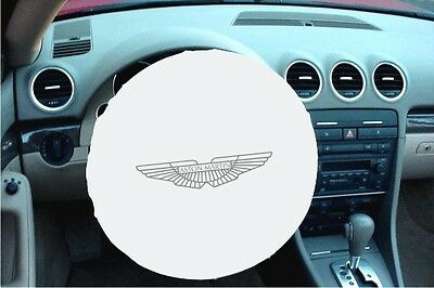 WHITE 100% Polyester ASTON-MARTIN Stretchable Steering Wheel Cover