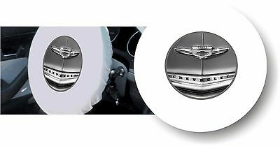 WHITE 100% Polyester 1940's CHEVY - Stretchable Steering Wheel Cover