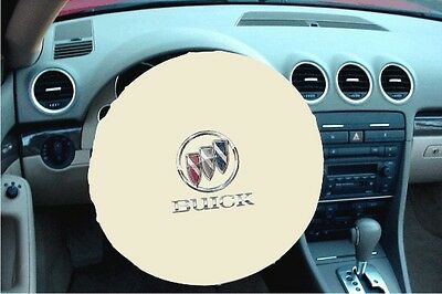 WHITE 100% Polyester BUICK LOGO - MADE IN USA Stretchable Steering Wheel Cover