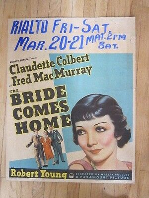 BRIDE COMES HOME Claudette Colbert Fred MacMurray Window Card 1935 Robert Young