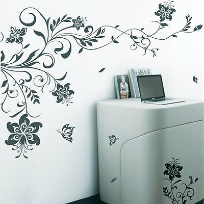 Vine Flower Butterfly Tree Art Wall Stickers / Wall decals / Wall Mural 242