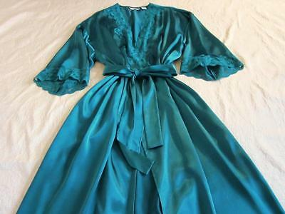 Vintage Victoria's Secret Long Slinky Jade Satin Dressing Gown Robe Wrap M/L NEW