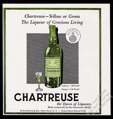 1951 Chartreuse liqueur green bottle and glass art vintage print ad