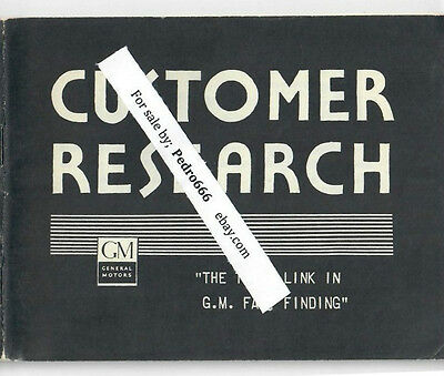 General Motors Customer Research Staff 1930s Booklet Car Opinion RARE GM Fact