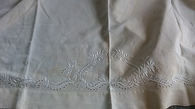 Antique HEAVY OLD Linen TWIN SHEET WITH 1 FRENCH SQUARE STYLE PILLOW CASE