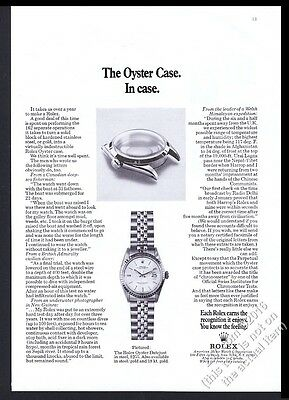 1971 Rolex Datejust watch and Oyster Case photo vintage print ad