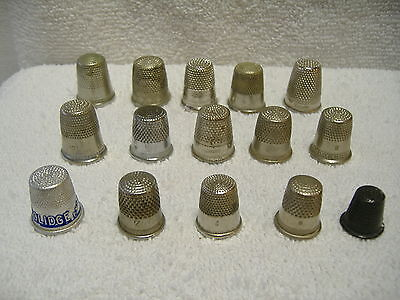 Vintage Lot 15 Metal Sewing Thimbles Some Marked Germany All Sizes