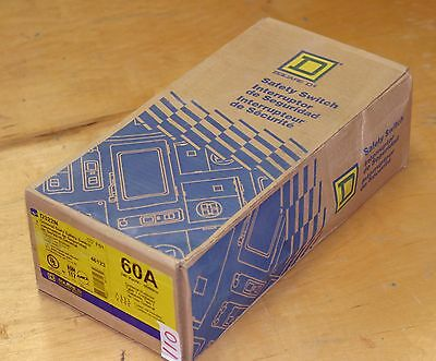 Square D Fusible Safety Switch, 3P, NEMA 1, 60A, 15 HP @ 240VAC HP, D322N